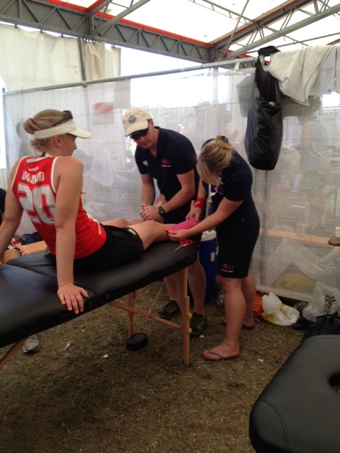 Medical Team Treating a Player at the Euros