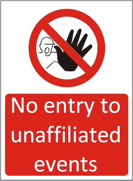 No entry to unaffiliated events